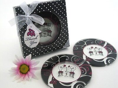 Bistro For Two Round Glass Coasters Gift Set Bridal Shower Wedding Favors 2-pk](Favors For A Wedding)