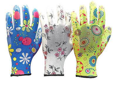 3 Paar Gartenhandschuhe Handschuhe Damen Nitril Größe: 6 - 7 - 8 - 9