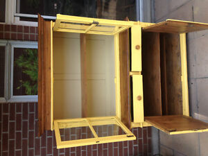 ANTIQUE SOLID PINE STEP BACK CUPBOARD / HUTCH