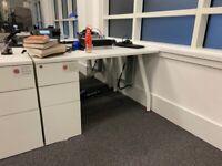 White Rectangular Desk With Built-in Pedestal, 1200x800mm