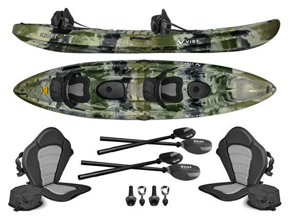 Vibe Skipjack 120T 12' Tandem 3 Person Fishing Kayak+Paddles