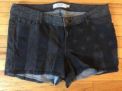 Women's Torrid FLAG stretch black denim jean shorts size 18 EUC