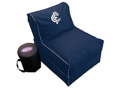 Carlton Blues AFL Large Foldable Lounge Bean Bag Chair With Cooler New Carlton Folding Chair