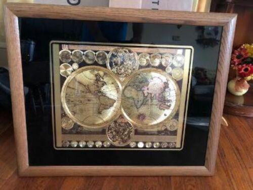 Vintage Large Framed Planisphaerium Terrestre Gold Foil World Map - GREAT Shape