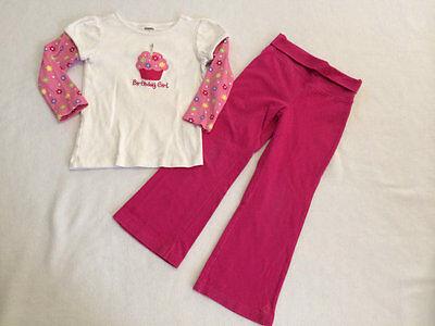 Gymboree 4 Birthday Girl Gem Flower Cupcake Shirt Pink Yoga Pants Set Outfit