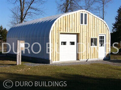Durospan Steel 25x28x13 Metal Gabled Roof Building Kit Open Ends Factory Direct