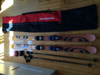 Ski Salomon twintip + poles + bag