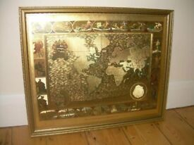 Moses Pitt 1681 - World Map Gold Engraving Picture RARE