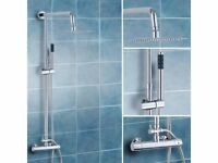 BRAND NEW BOXED SQUARE TWIN HEAD THERMOSTATIC SHOWER MIXER CHROME BATHROOM EXPOSED VALVE SET