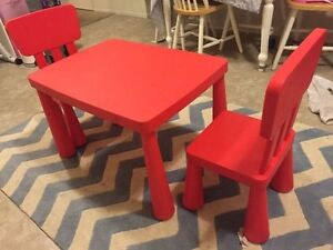 Red IKEA table for sale