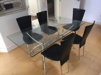 Italian Made Glass Dining Table & 5 Chairs
