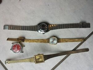mechanical watch lot set of 4 vintage gruen and 3 timex