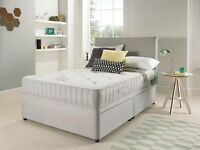 Available Suede Divan Bed + Open Sprung Memory Foam Mattress & Headboard