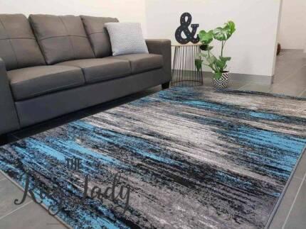 NEW!!! Blue Grey Stripe Lines Modern Floor Rug