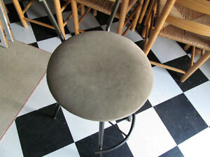 Charcoal metal Stool with Sage green suede-like fabric Peterborough Peterborough Area image 2