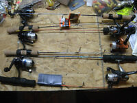 """ice fishing tackle, 6"""" swammers r/r combos, seats, cleats, jigs"""