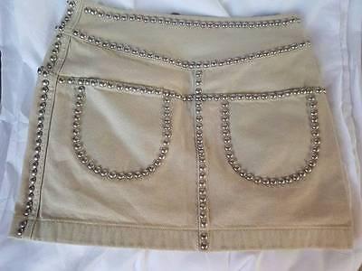 NWT COACH BLEACHED DENIM TAN WHITE RIVETS STUDS MINI SKIRT POCKETS SIZE 0 - Bleached Denim Mini Skirt
