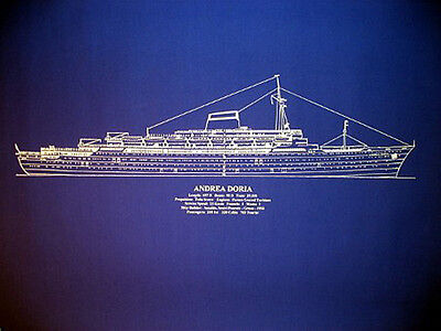 Ships Plan MV Andrea Doria 1956 Blueprint Drawing 20x26  (014)