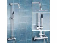 BRAND NEW BOXED SLIM SQUARE HEAD TWIN HEAD THERMOSTATIC SHOWER MIXER CHROME EXPOSED VALVE SET