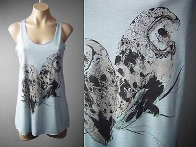 Pastel Blue Pygmy Barn Owl Bird Graphic Racer Back Tank Top 124 Mv Shirt S M L