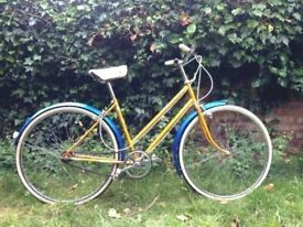Vintage Gold and Blue Bicycle with new Brooks Saddle.