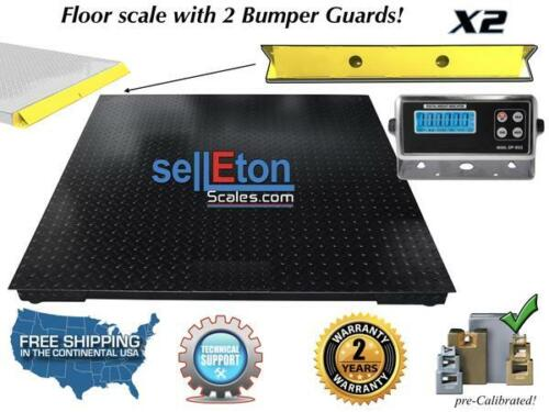"""Floor Scale with 2 Bumper Guards Pallet Size 10000 lbs x 1 lb 48"""" x 48""""(4"""