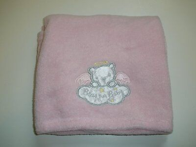 Baby Starters Bless Our Baby Pink Angel Bear Cloud Baby Girl Soft Plush Blanket A Baby Newborn Cradle