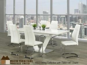 Modern White Dinette Set With Chrome Table On Sale