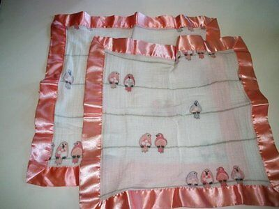 Aden + Anais Pink & And White Satin Birds On A Wire Baby Security Blankets (A Baby Satin Blankets)