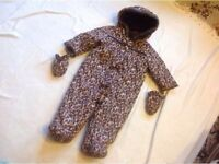 Baby k snowsuit baby with gloves 6/9 month used £2