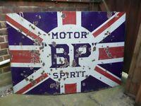 Wanted old metal advertising sign original antique vintage garage enamel decor