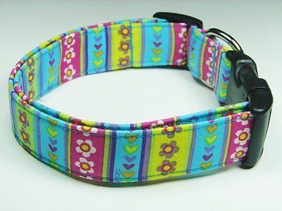 Charming Blue Pink Green Purple Yellow Hearts Flowers Stripes Dog Pet Collar