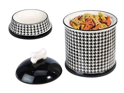 2PC CAT DOG CERAMIC HOUNDSTOOTH BLACK WHITE DESIGNER TREAT JAR FOOD & WATER BOWL