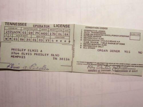 ELVIS PRESLEY ELVIS' DRIVER LICENCE REPRO. EPE NOVELTY