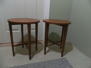 "2 Folding End Tables (18""H x 15 Dia.) solid wood"