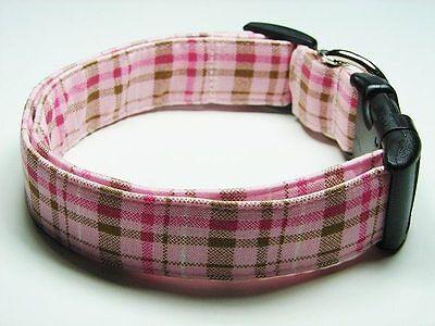 Charming Pink & Brown Plaid  Standard Adjustable Dog Collar