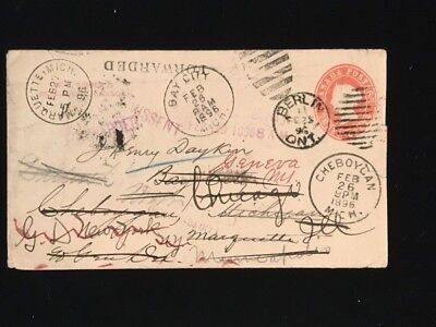 ONTARIO BERLIN 1896 #U4 3¢ ENTIRE TO USA FORWARDED NUMEROUS TIMES