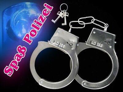 Handschellen Handschelle Fasching Karneval Handfessel Handcuff chrom - Halloween Handschellen