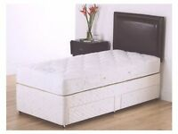 Single Divan Bed With Deep Quilt Mattress -- Brand New -- Fast Delivery --