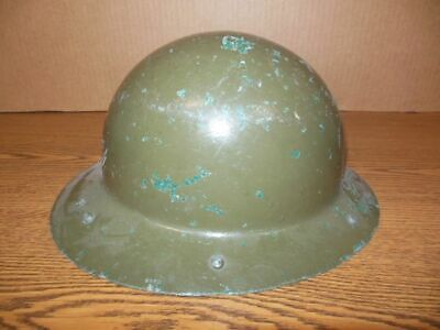 Vintage Msa Green Skullgard Full Brim Fiberglass Hard Safety Hat