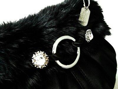 NWT COACH Ltd Ed SM BLACK FUR SATIN MINI HOBO EVENING CLUTCH SHOULDER BAG PURSE Hobo Black Evening Bags