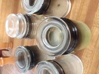 Empty glass candle jars with lids.  FREE