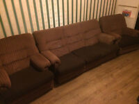 FREE brown 3 piece suite. Sofa. Settee. Armchairs.