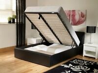 SAME DAY FAST DELIVERY: DOUBLE OTTOMAN GAS LIFT UP LEATHER STORAGE BED WITH DEEP QUILTED MATTRESS