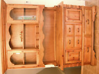 Antique Pine Buffet and Hutch (Refinished)