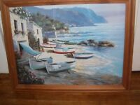 Large nicely framed picture of meditteranean type beach scene Its like looking through a window.