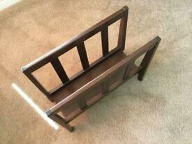 Vintage hardwood magazine/paper rack from the 1940's.