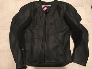 Black Leather Icon Motorcycle Jacket - Us Med Euro 44