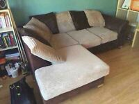 Brown and beige corner sofa can be delivered
