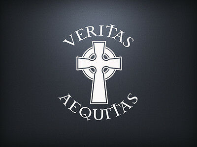 Boondock Saints Veritas Aequitas Celtic Cross Sticker Decal Window Vinyl (Celtic Window Sticker)